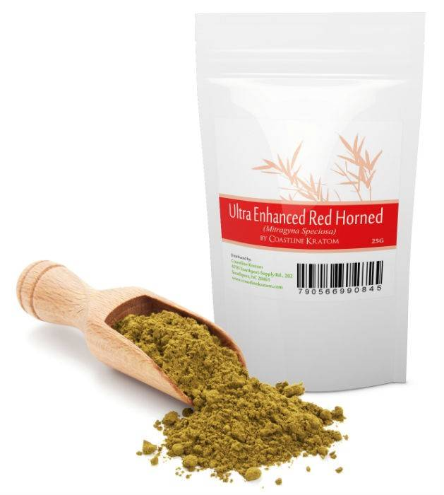 Ultra Enhanced Red Horned Kratom Powder Bag
